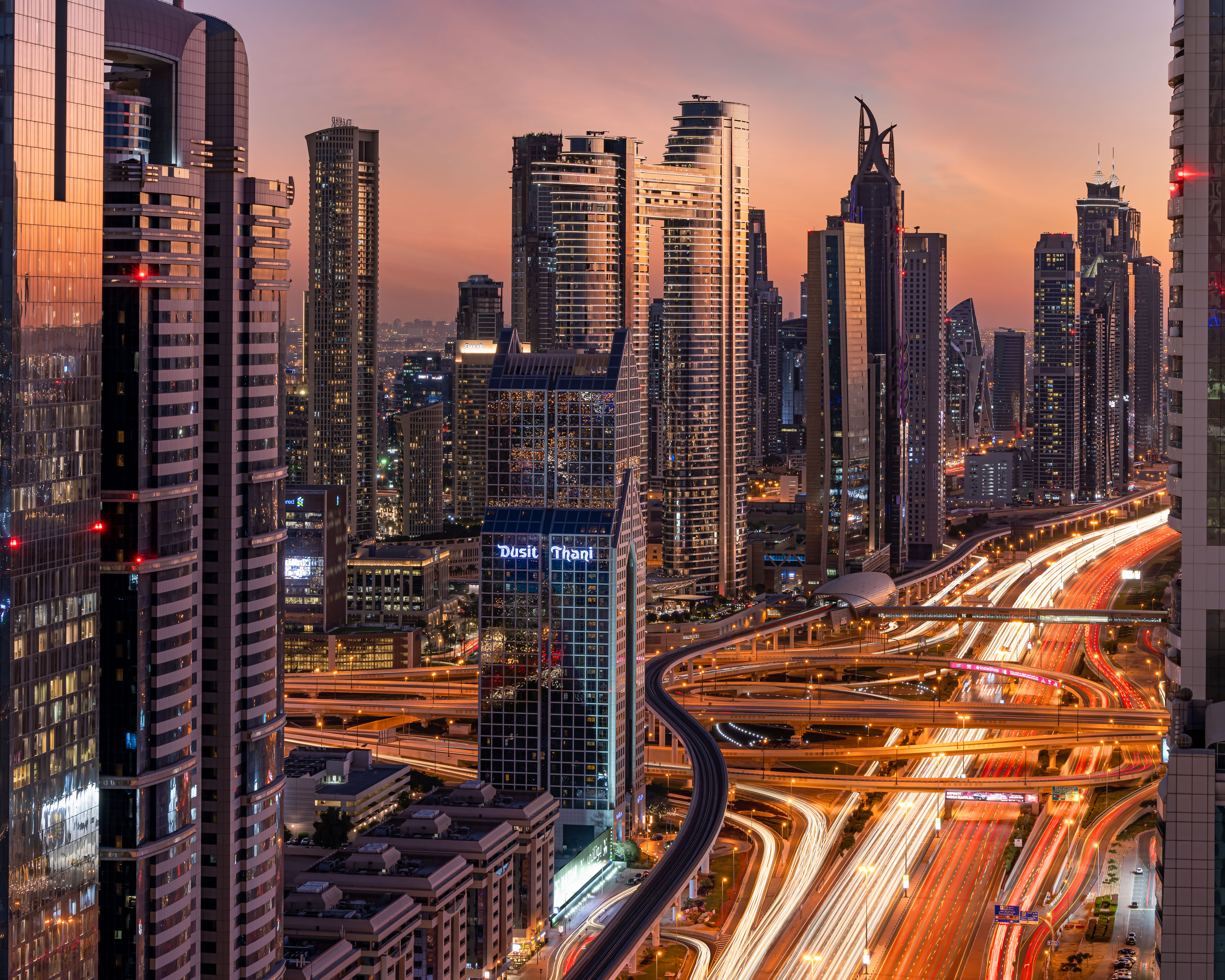 That last light hitting the buildings on Sheikh Zayed Road.