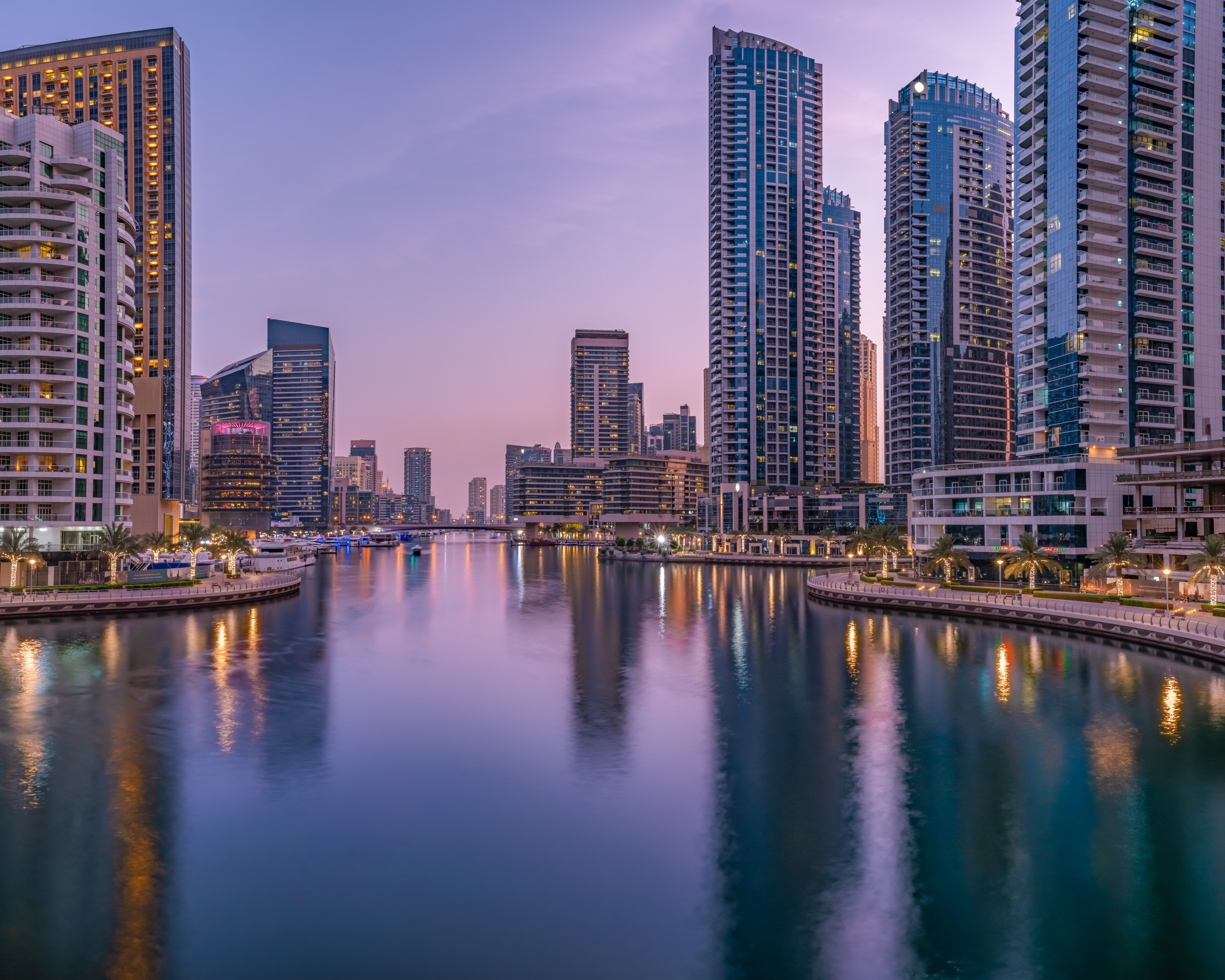 2. The marina during blue hour from the bridge